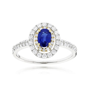 Sabel Collection 14K Gold Oval Sapphire and Double Halo Diamond Ring