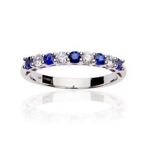 Fink's Prong Set Sapphire and Diamond Band