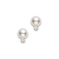 Mikimoto 6mm Akoya Pearl and Diamond White Gold Stud Earrings