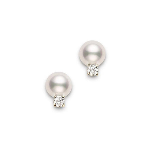 Mikimoto 6mm Akoya Pearl and Diamond Yellow Gold Stud Earrings