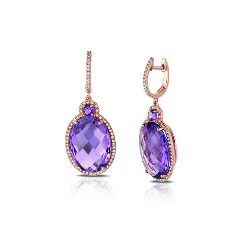 Marco Moore 14K Rose Gold Oval Cut Amethyst and Diamond Dangle Earrings