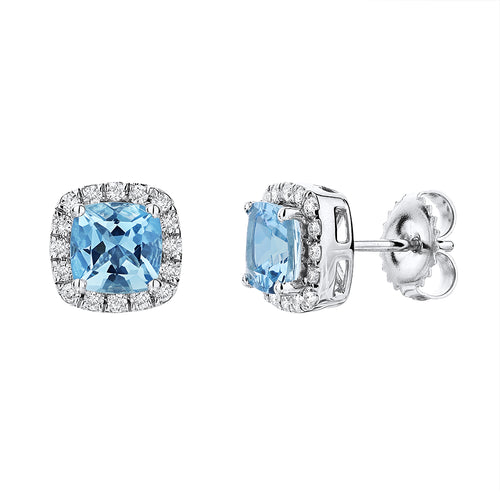 Sabel Collection 14K White Gold Cushion Cut Aquamarine and Diamond Halo Stud Earrings