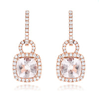 Sabel Collection 14K Rose Gold Cushion Cut Morganite and Diamond Dangle Earrings