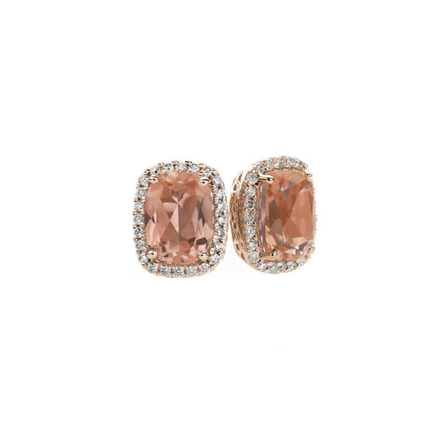 Sabel Collection 14K Rose Gold Cushion Cut Morganite and Diamond Stud Earrings