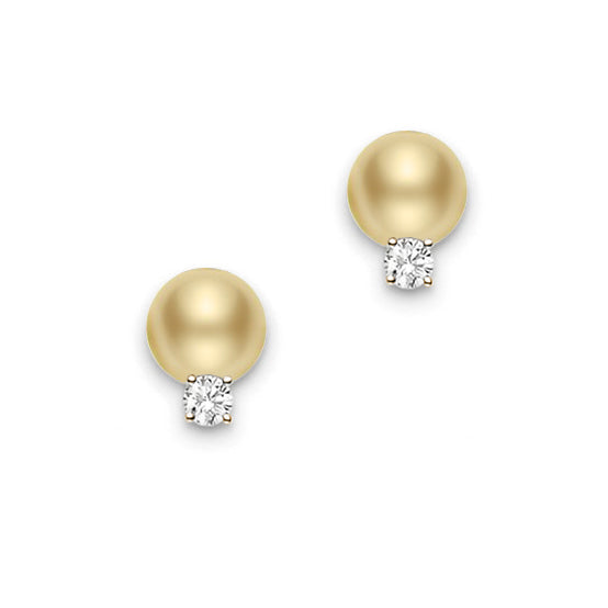 Mikimoto 10mm Golden South Sea Pearl and Diamond Earrings
