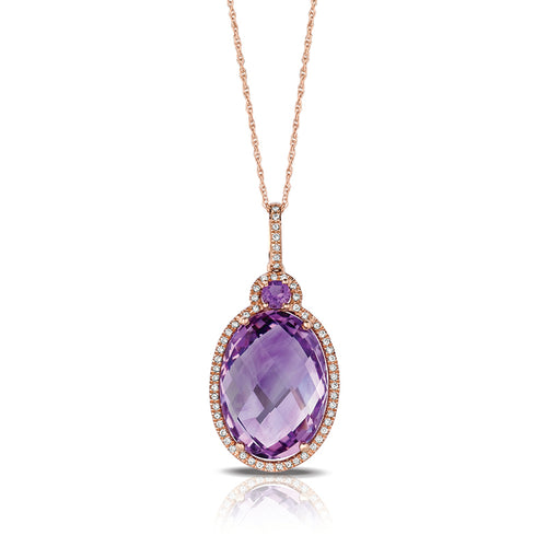 Marco Moore 14K Rose Gold Oval Cut Amethyst and Diamond Pendant
