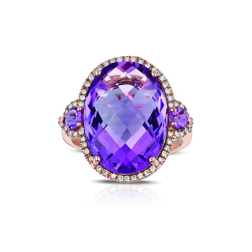 Marco Moore 14K Rose Gold Oval Cut Amethyst and Diamond Ring