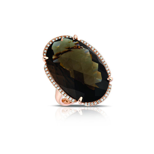 Marco Moore 14K Rose Gold Smoky Quartz and Diamond Ring