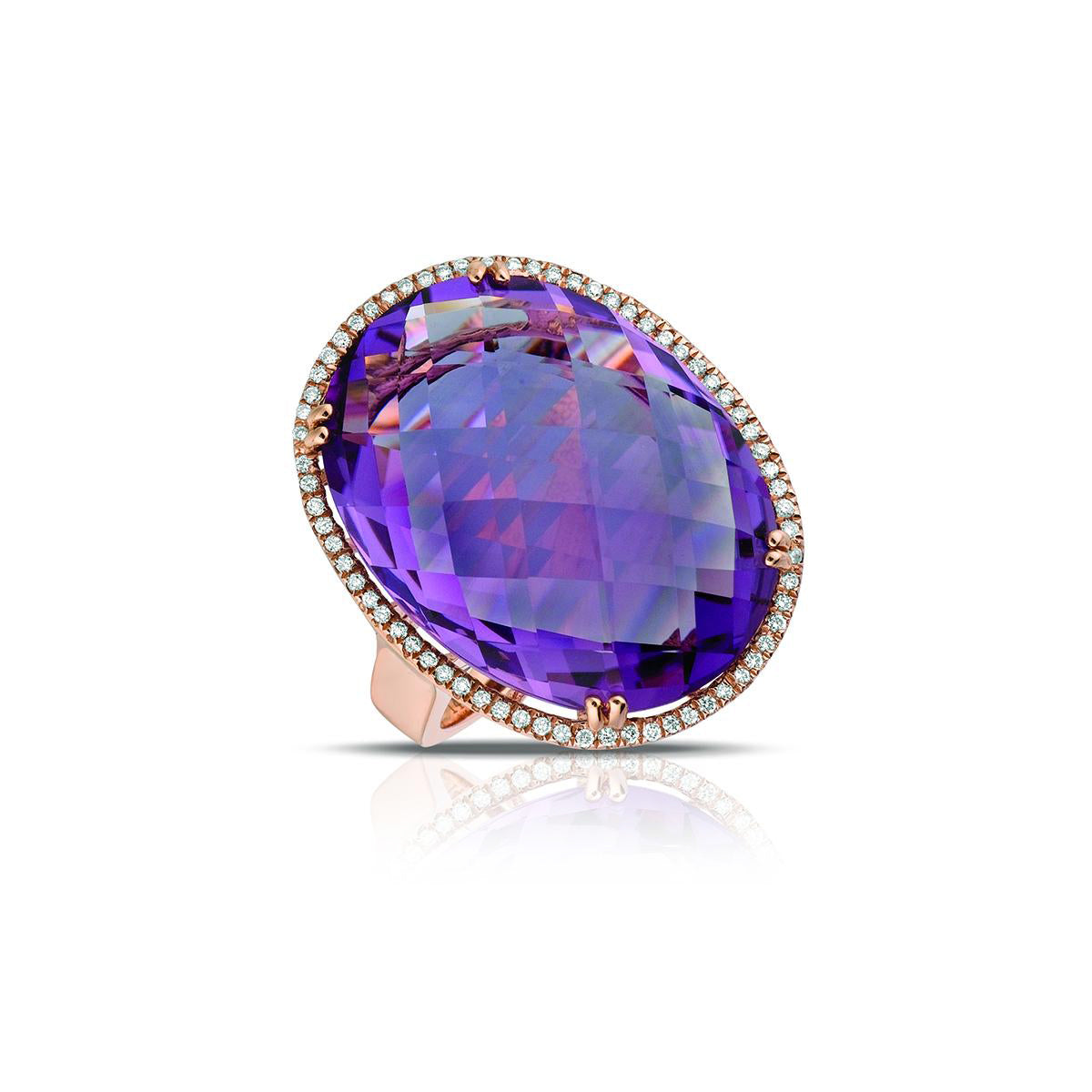 Marco Moore 14K Rose Gold Oval Cut Amethyst and White Diamond Ring