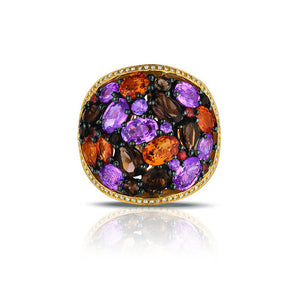 Marco Moore 14K Yellow Gold Pink and Orange Sapphire, Amethyst, and Smoky Quartz Ring