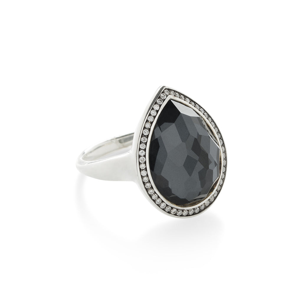 IPPOLITA Lollipop® Sterling Silver Gemstone Doublet and Diamond Teardrop Ring in Hematite Doublet