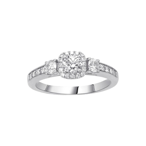 Fink's Exclusive .33ct Round Cut Engagement Ring with Halo and Princess Cut Diamonds on Shank