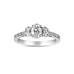 Fink's Exclusive Platinum Oval Diamond Three Stone Engagement Ring