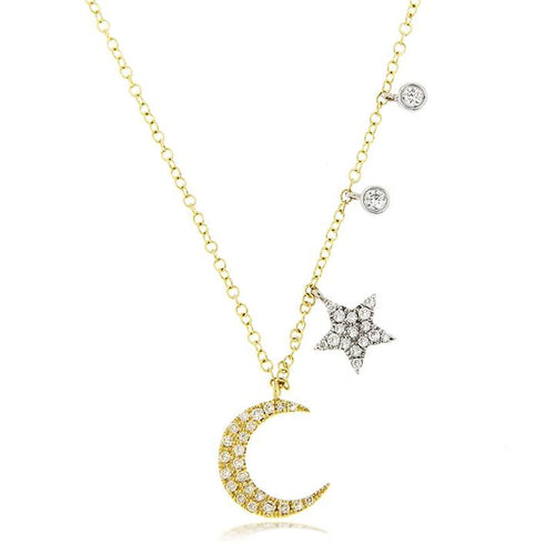 Meira T 14K Yellow and White Gold Moon and Star Pavé Necklace with Diamond Charms