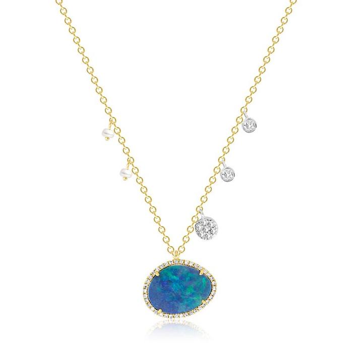 Meira T 14K Yellow Gold Australian Opal Necklace with Pearl and Diamond Charms