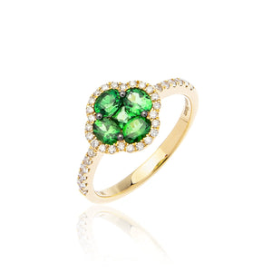 Marco Moore 18K Yellow Gold Oval Tsavorite and Diamond Ring