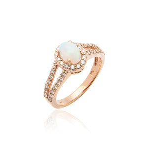 Sabel Collection 14K Rose Gold Oval Opal and Diamond Split Shank Ring