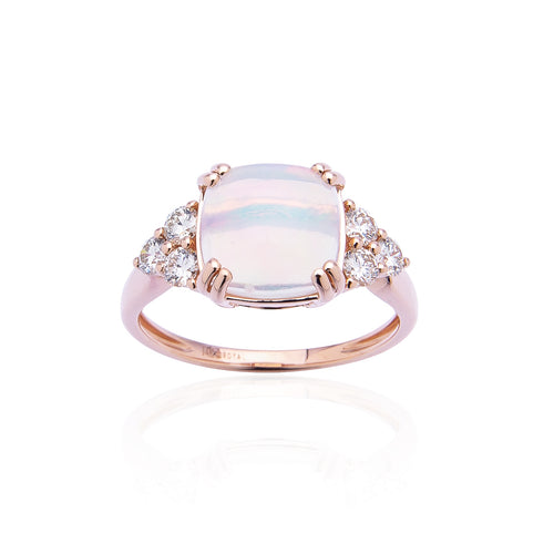 Sabel Collection 14K Rose Gold Cushion Cut Opal and Diamond Cluster Ring