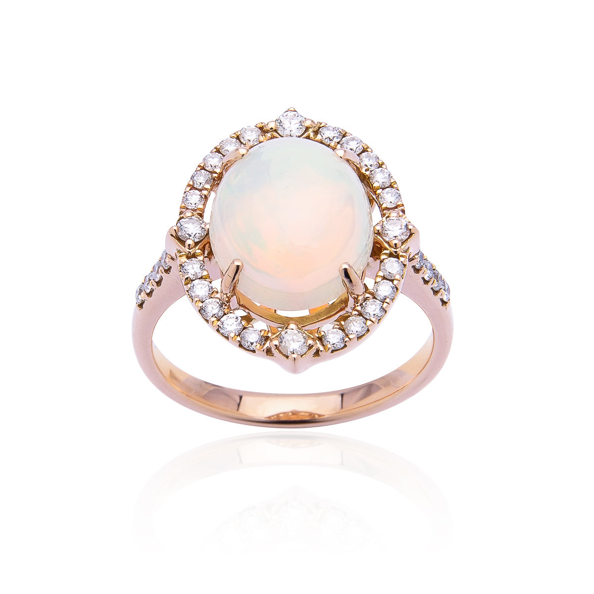 Sabel Collection 14K Rose Gold Oval Opal and Diamond Halo Ring