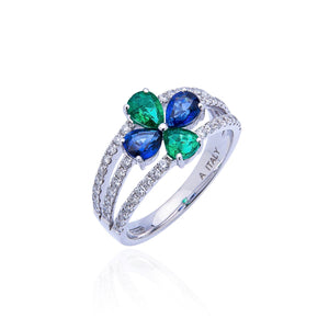 Sabel Collection 18K White Gold Sapphire and Emerald with Diamond Accents Ring