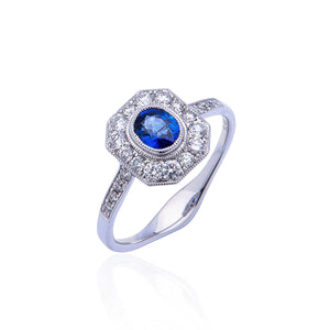 Sabel Collection Vintage 18K White Gold Oval Sapphire and Diamond Halo Ring