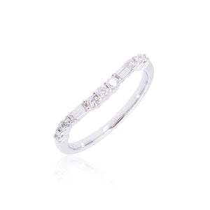 Sabel Collection 14K White Gold Round and Baguette Curved Diamond Ring