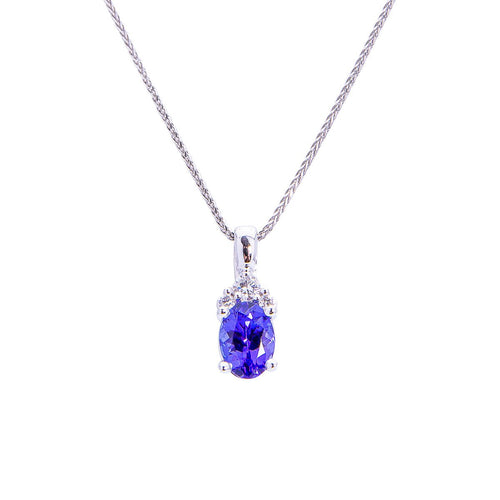 Sabel Collection 14K White Gold Oval Tanzanite and Diamond Pendant