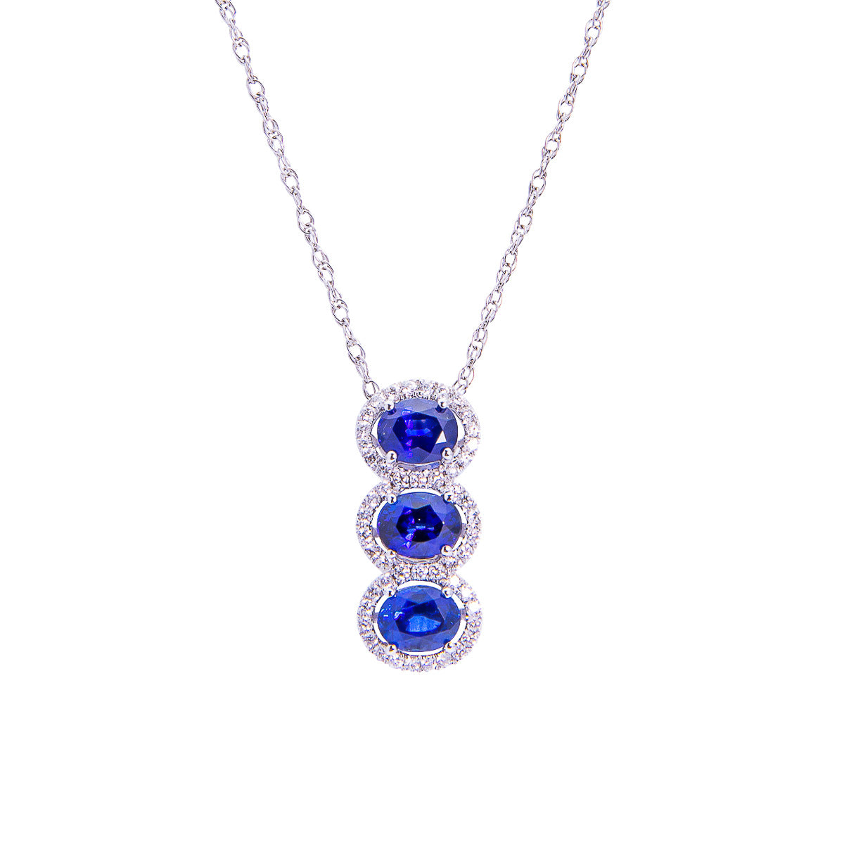 Sabel Collection 14K White Gold Sapphire and Diamond Triple Drop Pendant