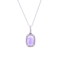 Sabel Collection 14K White Gold Cushion Cut Amethyst and Diamond Pendant