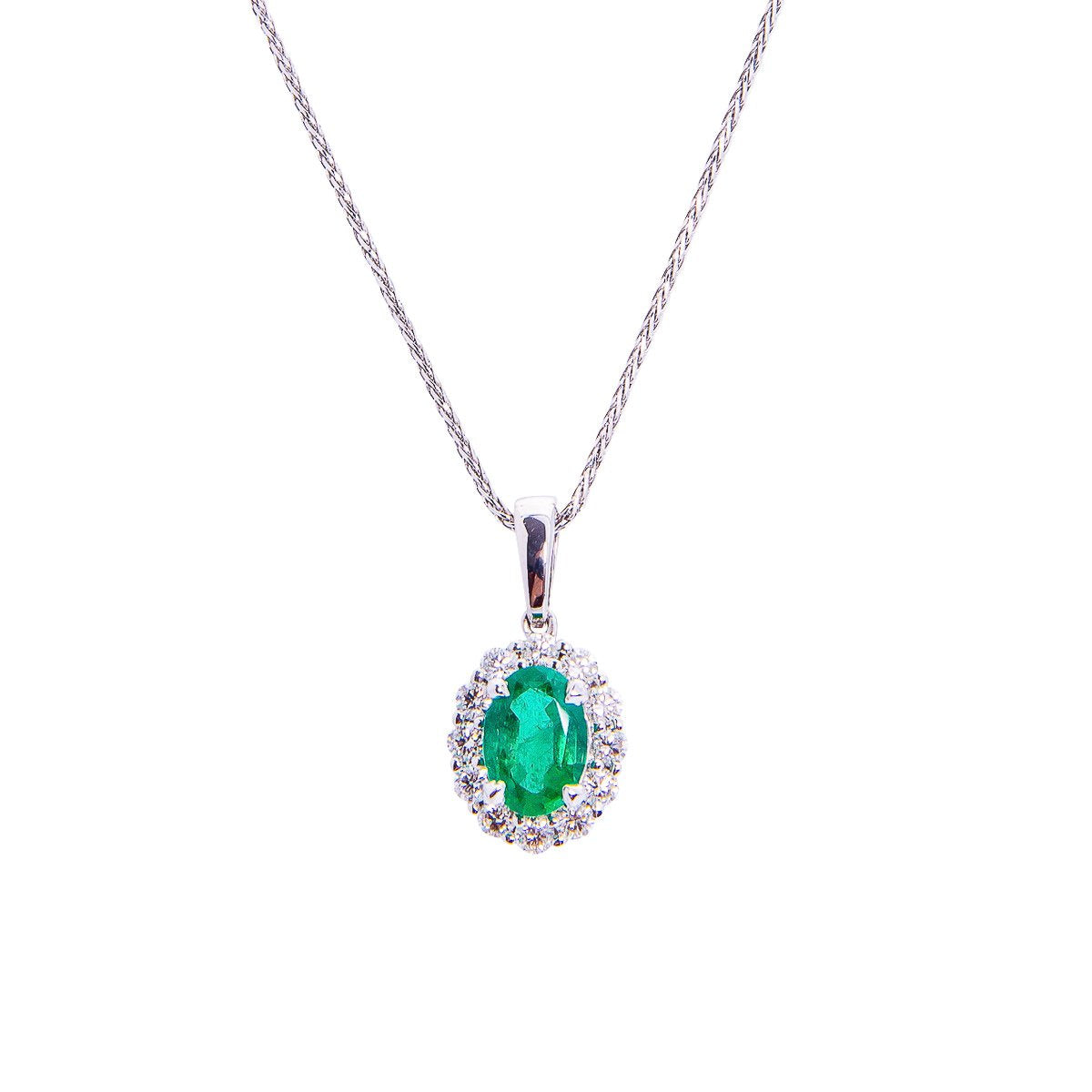 Sabel Collection 14K White Gold Oval Emerald and Diamond Halo Pendant