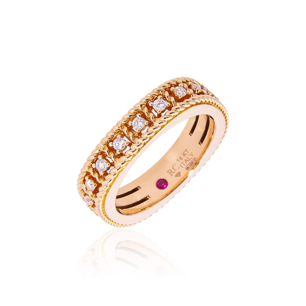 Roberto Coin Byzantine Barocco 18K Rose Gold Diamond Single Row Ring