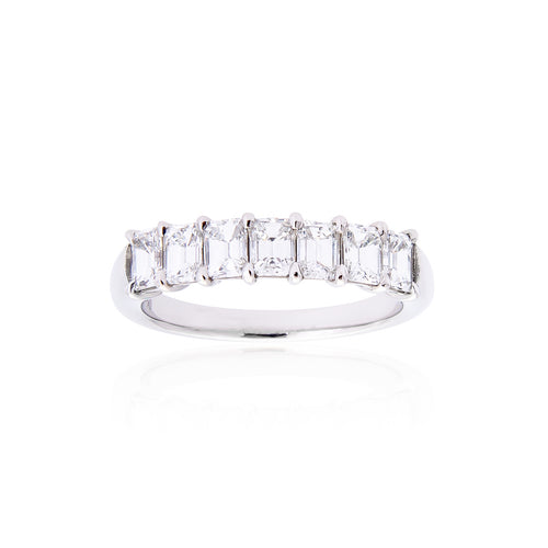 Fink's Platinum Emerald Cut Diamond Wedding Band