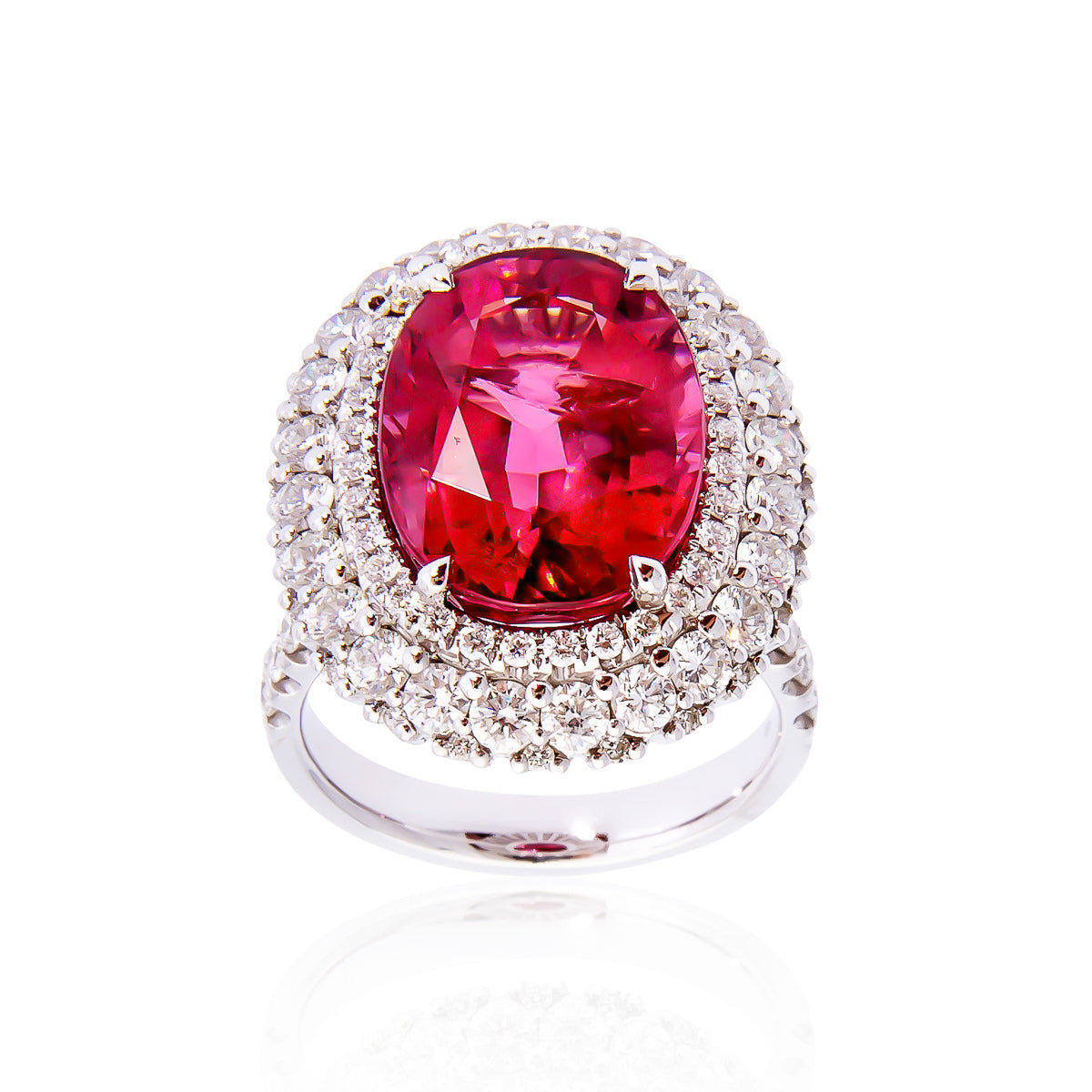 Yellow Gold Oval Ruby Ring With Diamond Side Stones Fink S
