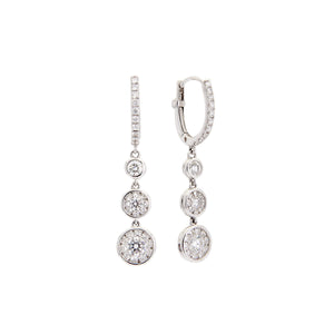 Roberto Coin Classic Diamond 18K White Gold Diamond Cluster Triple Drop Earrings