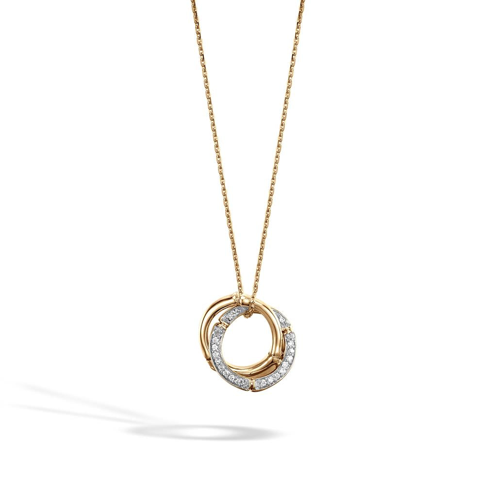 John Hardy Bamboo 18K Yellow Gold Diamond Pavé Interlocking Circle Pendant