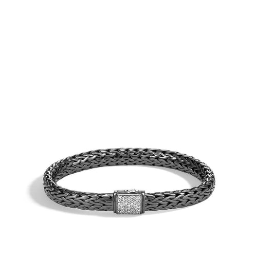 John Hardy Classic Chain 7.5mm Black Rhodium and Sterling Silver Chain Bracelet with Diamond Clasp