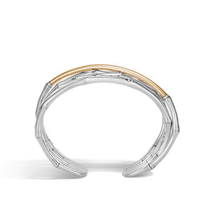 John Hardy Bamboo Sterling Silver and 18K Yellow Gold Crossover Cuff