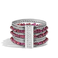John Hardy Classic Chain Sterling Silver Mixed Pink Bead and Chain Multi-Strand Bracelet