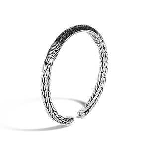 John Hardy Classic Chain Sterling Silver Slim Flex Cuff with Black Sapphire and Black Spinel