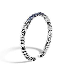 John Hardy Classic Chain Sterling Silver Slim Flex Cuff with Blue Sapphire