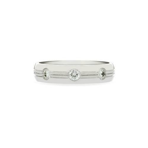 Fink's Men's 14K White Gold Round Diamond Textured Wedding Band