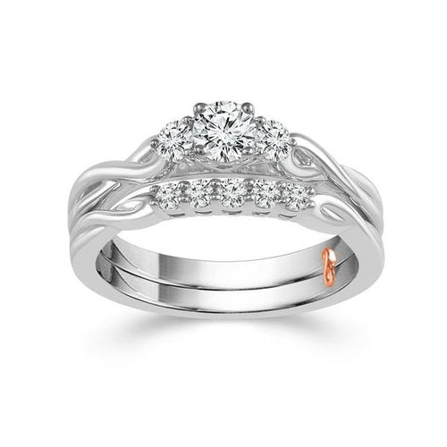 Fink's Exclusive Round Diamond Triple-Stone Engagement Ring Set