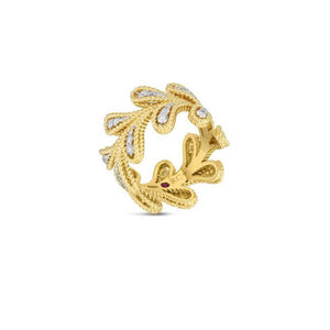 Roberto Coin Byzantine Barocco 18K Yellow Gold Laurel Leaf Diamond Band
