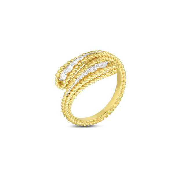Roberto Coin Byzantine Barocco 18K Yellow Gold Textured Bypass Ring