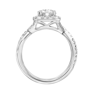 Fink's Exclusive 14K White Gold Round Diamond Halo Crossover Shank Engagement Ring