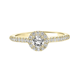 Fink's Exclusive 14K Yellow Gold Round Diamond Halo Engagement Ring