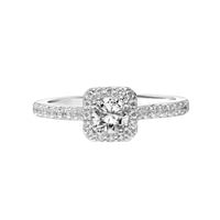 Fink's Exclusive 14K White Gold Round Diamond Halo Engagement Ring with Diamond Shank Accent