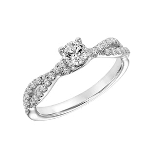 Fink's Exclusive 14K White Gold Round Diamond Crossover Diamond Shank Engagement Ring