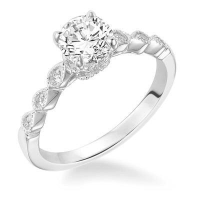 Fink's Exclusive 14K White Gold Round Diamond Engagement Ring with a Marquise Shape Design Shank
