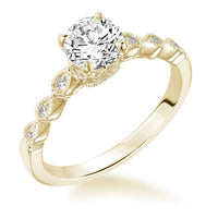 Fink's Exclusive 14K Yellow Gold Round Diamond Engagement Ring with a Marquise Shape Design Shank